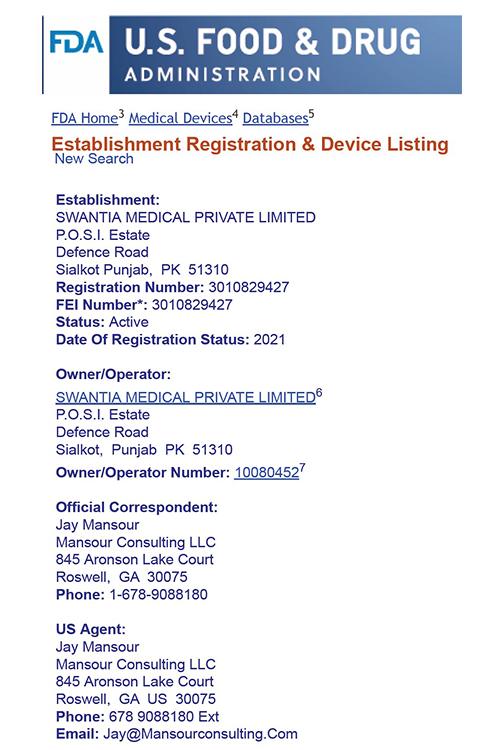Swantia USA FDA Registration 2021